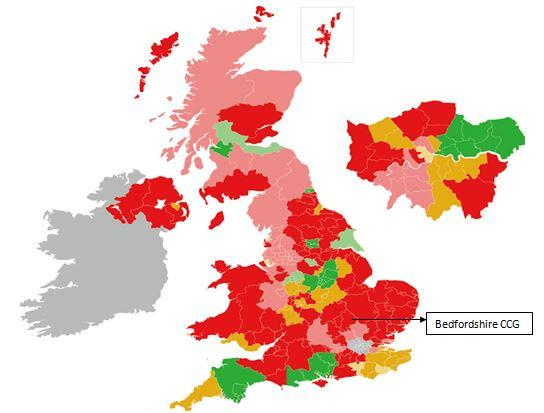 Map showing the disparities of care within the UK. It illustrates current provision of specialist community perinatal mental health teams based on Royal College of Psychiatrists, College Centre of Quality Improvement.